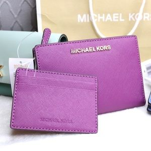 NEW Michael Kors Purple Wallet +Card Case Carryall